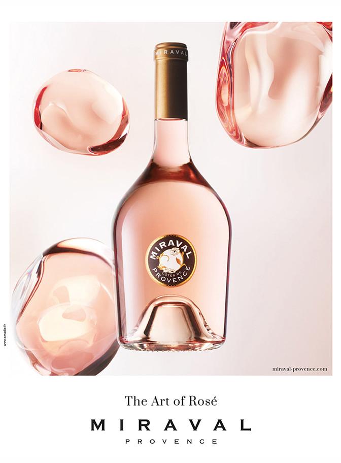 Affiche The Art Of Rose de Miraval avec une bouteille et des bulles