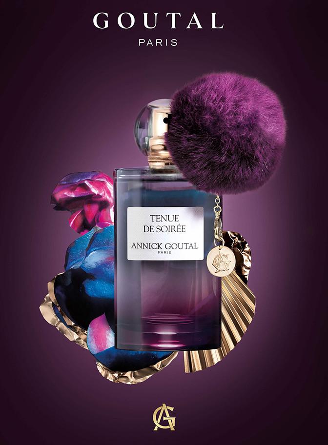fond violet et flacon tenue de soirée